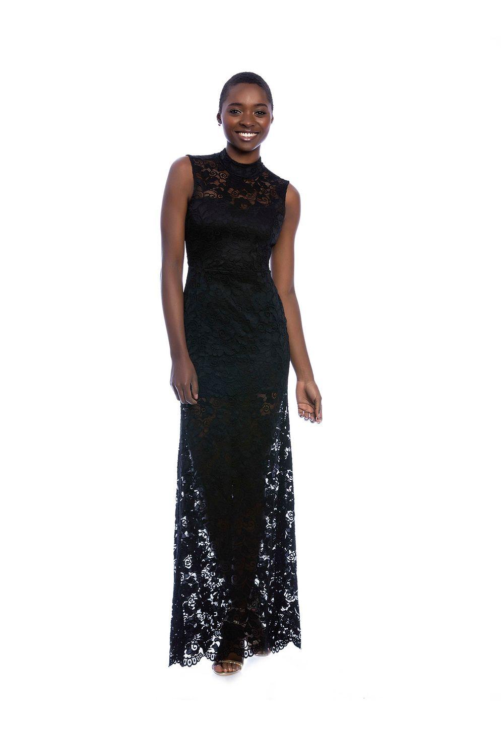 Vestido negro formal largo