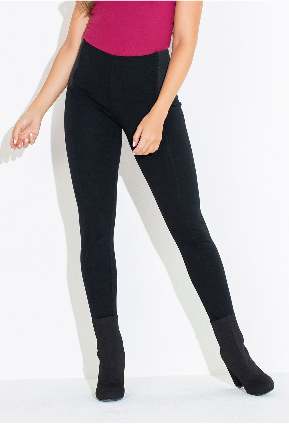 Leggings Tiro Alto Con Resorte Lateral Negro E251434 - ELA 793d312d8396