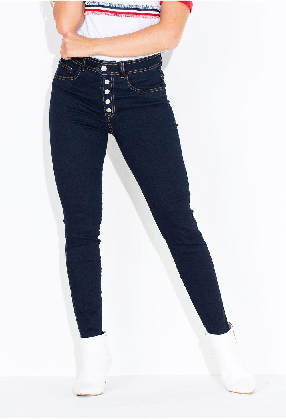 7544243535c Jeans Skinny Con Botones Expuestos Azul E135910 - ELA