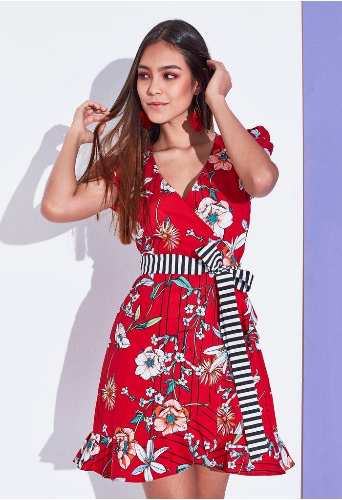 398ac97a3e Vestido Corto Estampado De Flores