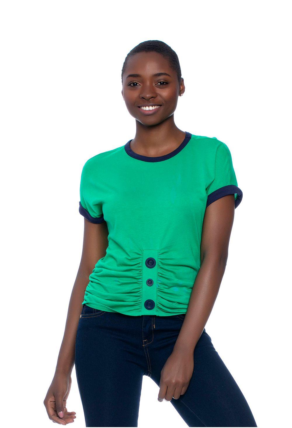 27114689a T-Shirt Corta Con Botones Verde E157410 - ELA
