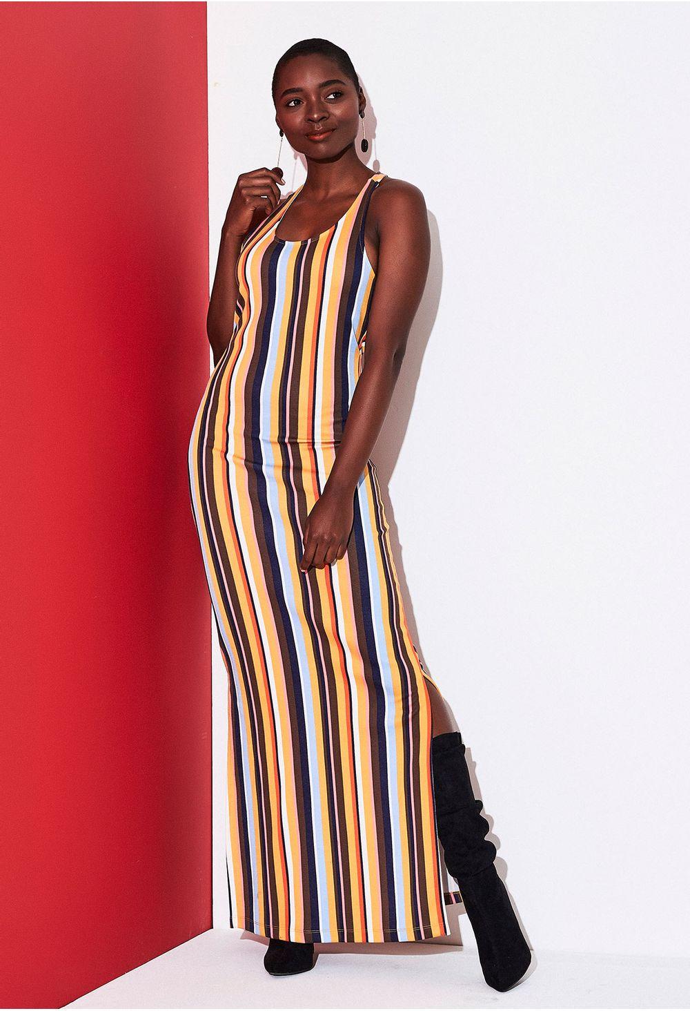 Vestido Largo De Rayas Multicolor