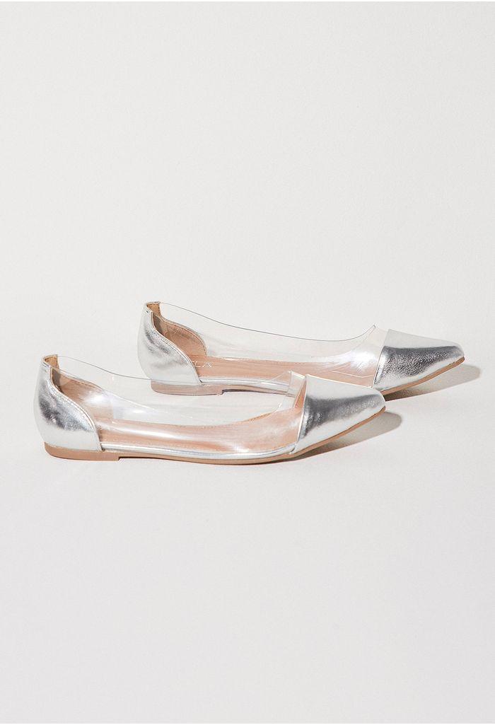 ae05101e79ae zapatos-plata-E371203-1. Bailarina combinación de materiales en c