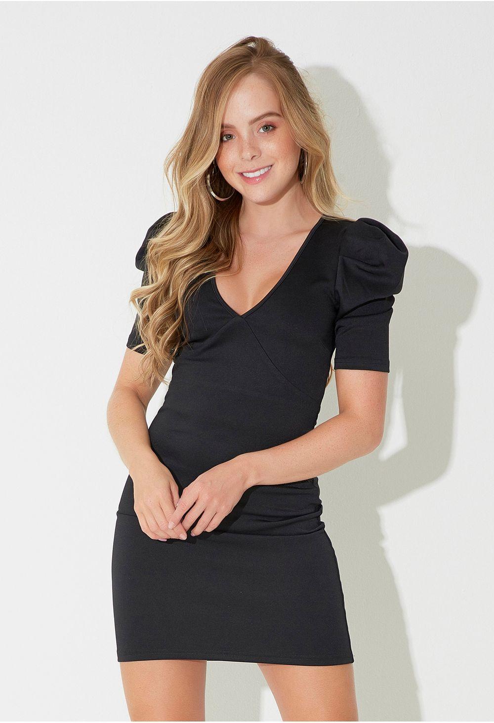 Super baratas que buen look baratas para descuento Vestido corto con escote en v